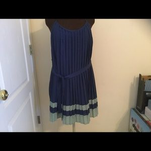 City Studio Blue with green accent pleated dress